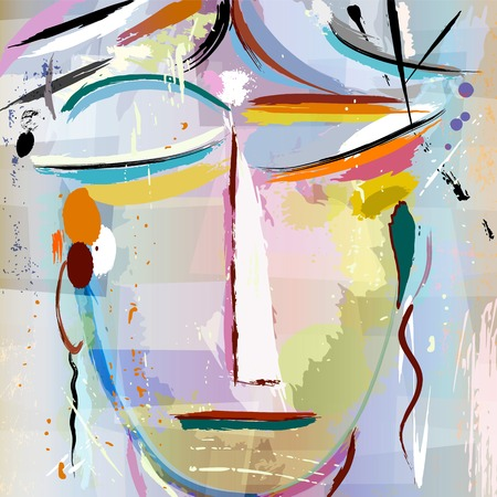 Illustrazione per abstract face of a woman, with paint strokes and splashes, face/mask - Immagini Royalty Free