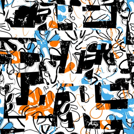 Illustration pour seamless background pattern, with trapeze, ornaments, paint strokes and splashes, retro style - image libre de droit