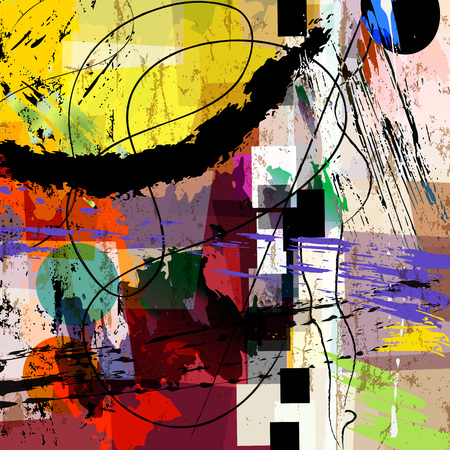 Ilustración de abstract background composition, with paint strokes, splashes and geometric lines - Imagen libre de derechos