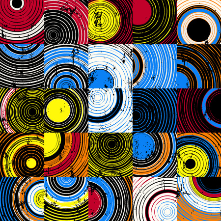 Illustration pour seamless background pattern, with circles, squares, strokes and splashes - image libre de droit