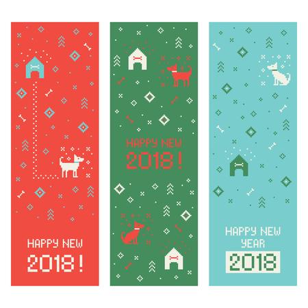 Foto de Chinese happy new year 2018 cross stitch greeting internet banners set with dog. Pixel art - Imagen libre de derechos