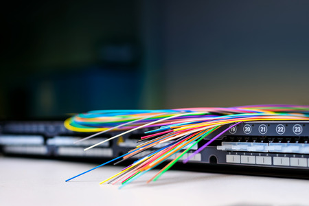 Foto de Fibre optic cables on top of patch distribution panel shelf for enterprise networking - Imagen libre de derechos