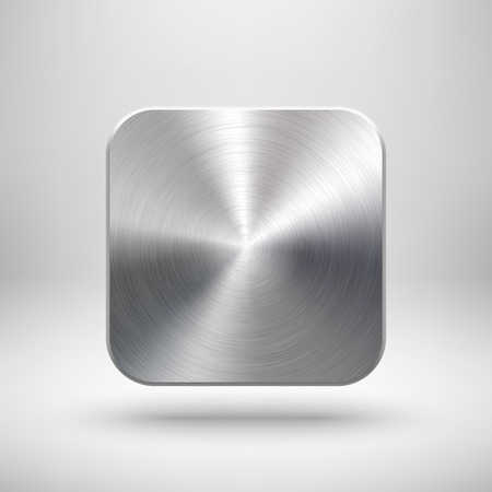 Illustration pour Abstract technology app icon, blank button template with metal texture - image libre de droit