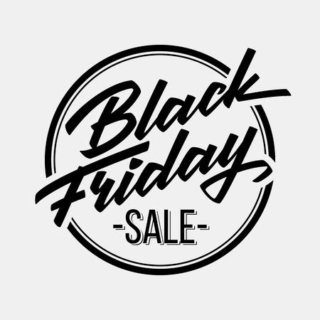 Illustration pour Black Friday Sale badge with handmade lettering - image libre de droit