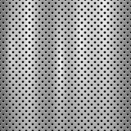 Illustration pour Metal technology background with with seamless circle perforated pattern and circular polished, brushed texture, chrome, silver, steel for design concepts, web, prints, wallpapers. Vector illustration - image libre de droit