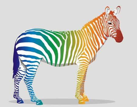 Illustration for Zebra with multi-colored strips on a body - Royalty Free Image