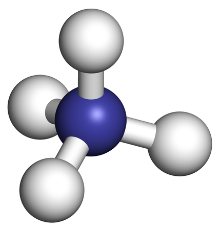 Photo pour Ammonium cation. Protonated form of ammonia. 3D rendering. Atoms are represented as spheres with conventional color coding: hydrogen (white), nitrogen (blue). - image libre de droit