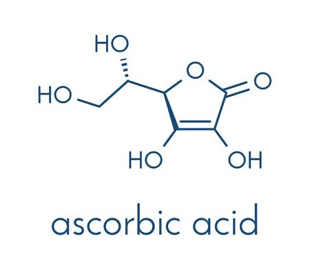 Illustration pour Vitamin C (ascorbic acid, ascorbate) molecule. Skeletal formula. - image libre de droit