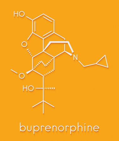 Photo pour Buprenorphine opioid addiction and pain killer drug molecule. Skeletal formula. - image libre de droit