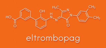 Photo pour Eltrombopag thrombocytopenia (low blood platelet count) drug molecule. Skeletal formula. - image libre de droit