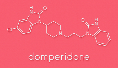 Photo pour Domperidone nausea and vomiting suppressing drug molecule. Also used to promote lactation. Skeletal formula. - image libre de droit