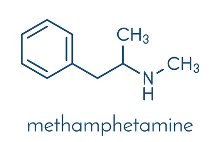Illustration for Methamphetamine (crystal meth, methamfetamine) stimulant drug molecule. Skeletal formula. - Royalty Free Image