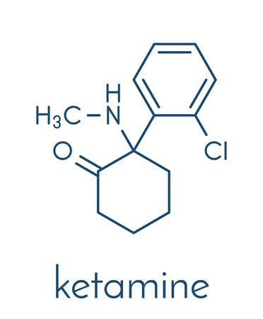 Illustration pour Ketamine anesthetic drug molecule. - image libre de droit