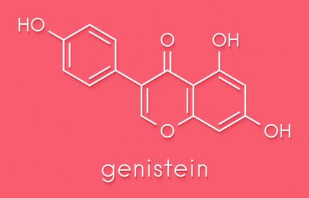 Photo pour Genistein isoflavone molecule. Skeletal formula. - image libre de droit