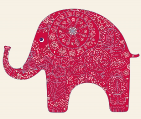 Beautiful  card with flowers and elephant