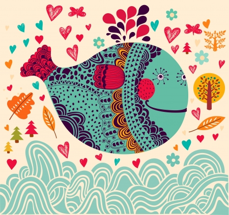 Illustration for Cartoon  illustration with whale - Royalty Free Image