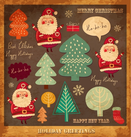 Vintage vector Christmas card with Santa Clauses