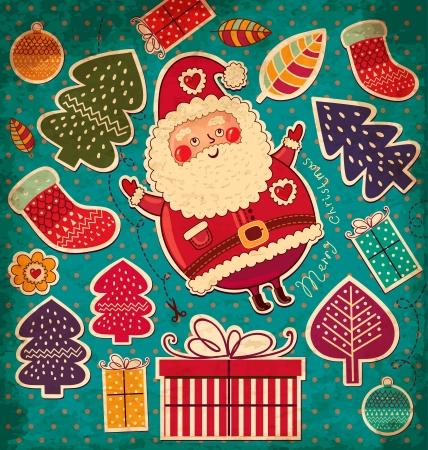 Vintage vector Christmas card with Santa Claus