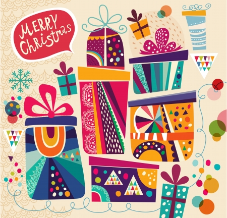 Illustration pour Christmas card with gift boxes - image libre de droit