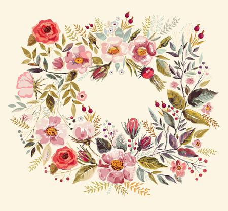 Illustration pour Vintage background with hand drawn floral wreath - image libre de droit