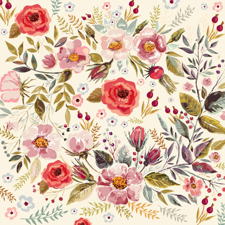 Illustration pour Hand drawn floral romantic background with beautiful flowers and leaves - image libre de droit
