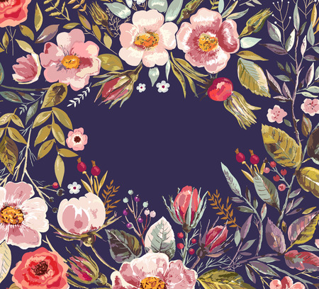 Illustration pour Vintage background with hand drawn floral wreath - image libre de droit