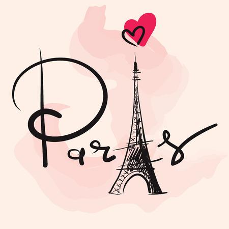Photo pour Vector hand drawn illustration with Eiffel tower - image libre de droit