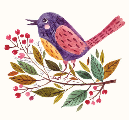 Illustration pour Hand painted adorable bird sitting on a branch in watercolor technique. - image libre de droit