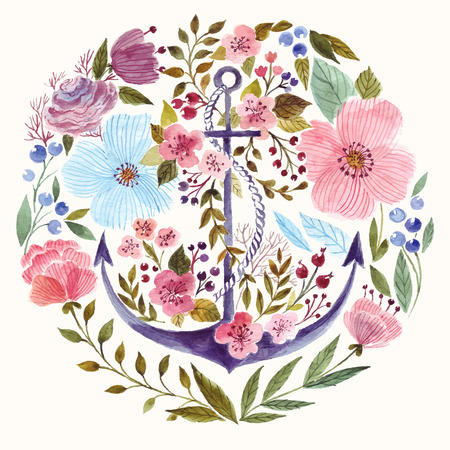 Ilustración de Hand drawn adorable anchor in watercolor technique in flowers background - Imagen libre de derechos