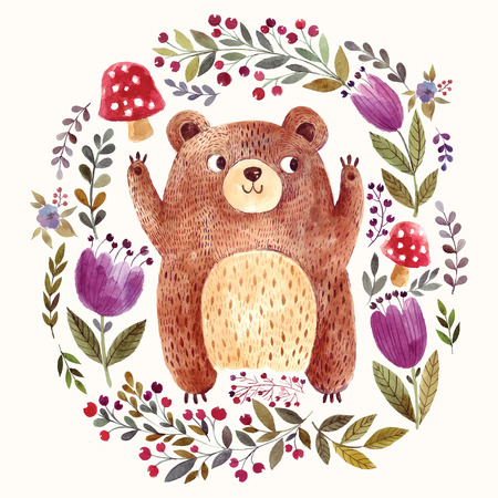 Ilustración de Vector illustration: adorable bear in watercolor technique. Beautiful card with cute little bear. - Imagen libre de derechos
