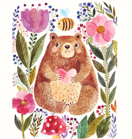 Photo pour Vector illustration: adorable bear in watercolor technique. Beautiful card with cute little bear. - image libre de droit