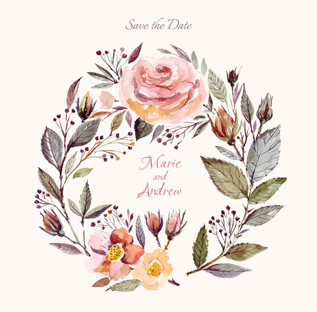 Illustration pour Wedding invitation template with watercolor floral wreath. Beautiful roses and leaves - image libre de droit