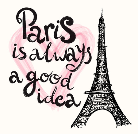 Ilustración de Vector hand drawn illustration with Eiffel tower - Imagen libre de derechos