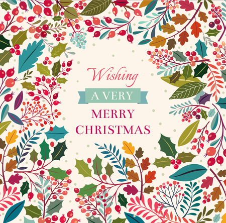 Illustration for Christmas floral background with text - Royalty Free Image