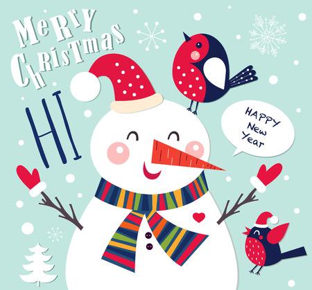 Illustration pour Cheerful Christmas card with Snowman - image libre de droit