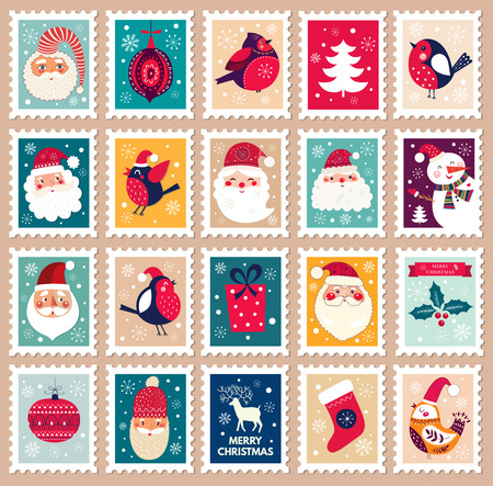 Illustration pour Christmas beautiful cheerful cute stamp with holiday symbols and elements of decoration. - image libre de droit