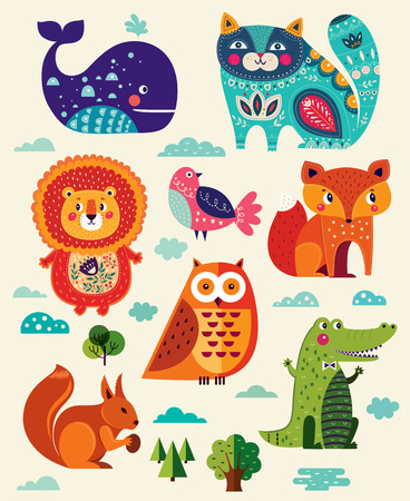 Illustration for Perfect vector set of illustration in cartoon naive style with funny animals and birds. - Royalty Free Image