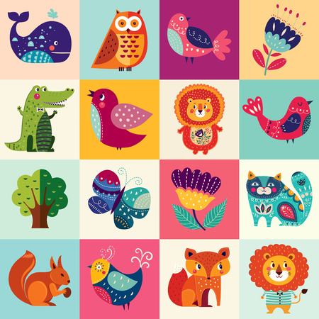 Photo pour Big colorful set with lovely animals, birds and flowers - image libre de droit