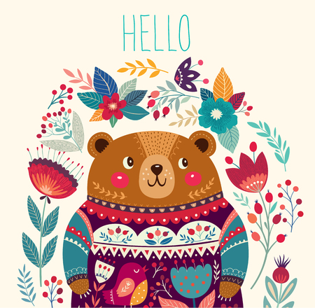 Illustration for Vector illustration with adorable bear, flowers and leaves - Royalty Free Image
