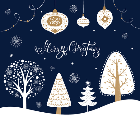 Illustration pour Christmas illustration with trees, fir tree, snowflakes and toys - image libre de droit