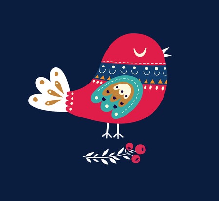 Illustration for Christmas illustration with bird - Royalty Free Image