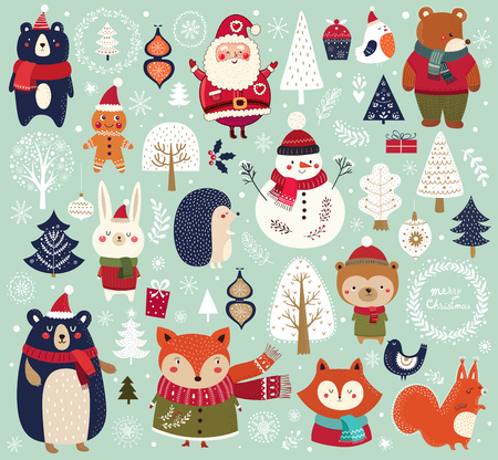Illustration pour Christmas collection with cute animals, Santa Claus, Snowman and decorative elements. - image libre de droit