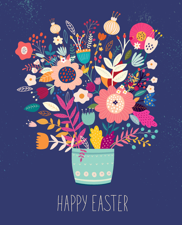 Illustration for Vector illustration with bouquet of flowers - Royalty Free Image