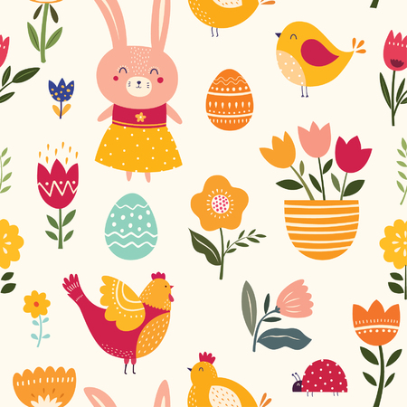 Illustration for Seamless pattern with cute bunny, chicken and flowers - Royalty Free Image