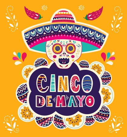 Ilustración de Beautiful vector illustration with design for Mexican holiday 5 may Cinco De Mayo - Imagen libre de derechos