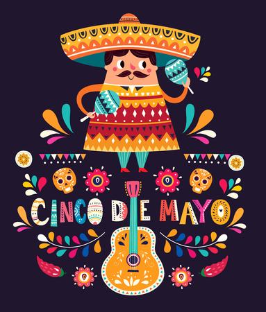 Ilustración de Cute Mexican man with maracas and Mexican guitars - Imagen libre de derechos