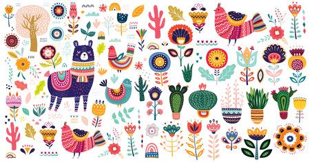 Illustration pour Big vector collection with cute llama, cacti and flowers. - image libre de droit