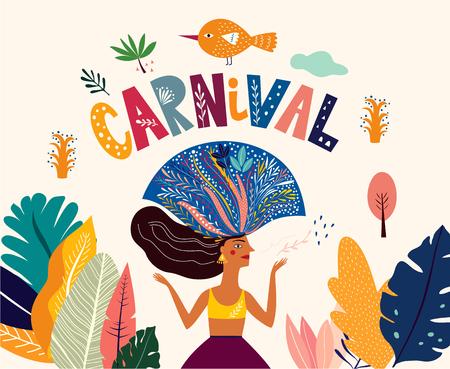 Illustration pour Brazil Carnival. Vector illustration with brazilian dancing girl - image libre de droit