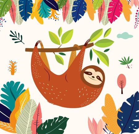 Ilustración de Cartoon vector illustration with funny cute sloth - Imagen libre de derechos