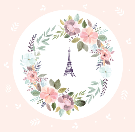 Illustration for Vector hand drawn illustration with Eiffel tower and floral wreath - Royalty Free Image